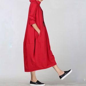 Mordenmiss lagenlook mock turtle neck red dress L